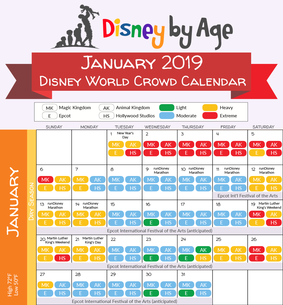 January 2019 Disney World Crowd Calendar | Disney Trip In