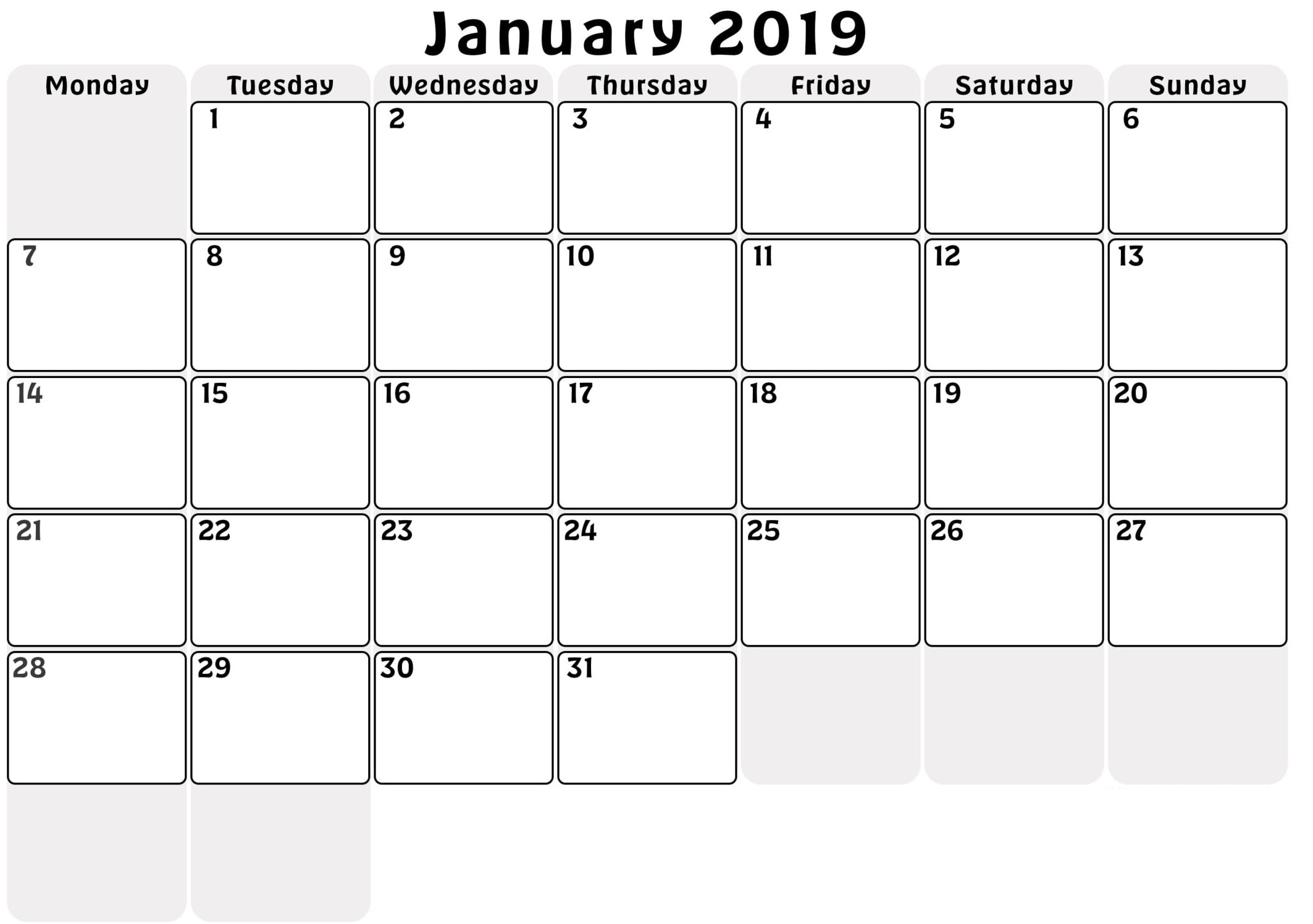 January 2019 Printable Calendar A4 11*8.5 Editable Page With