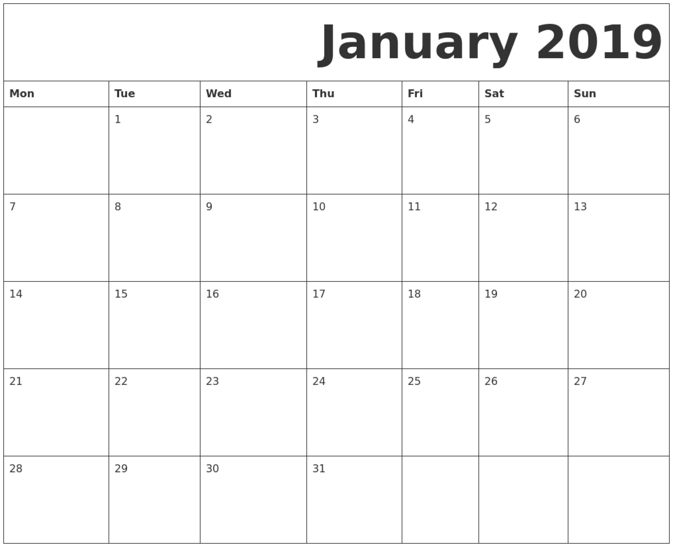 January 2019 Printable Calendar Monday Start. | January 2019
