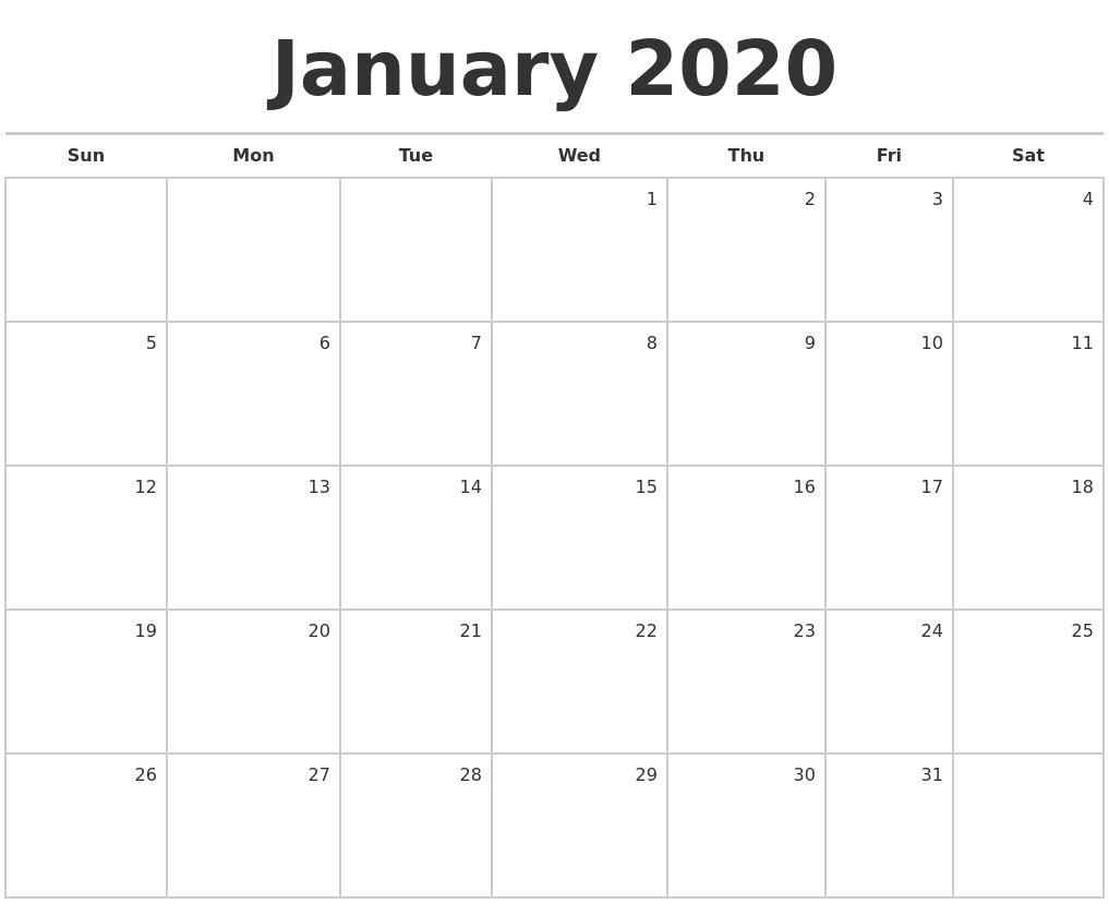 January 2020 Blank Monthly Calendar