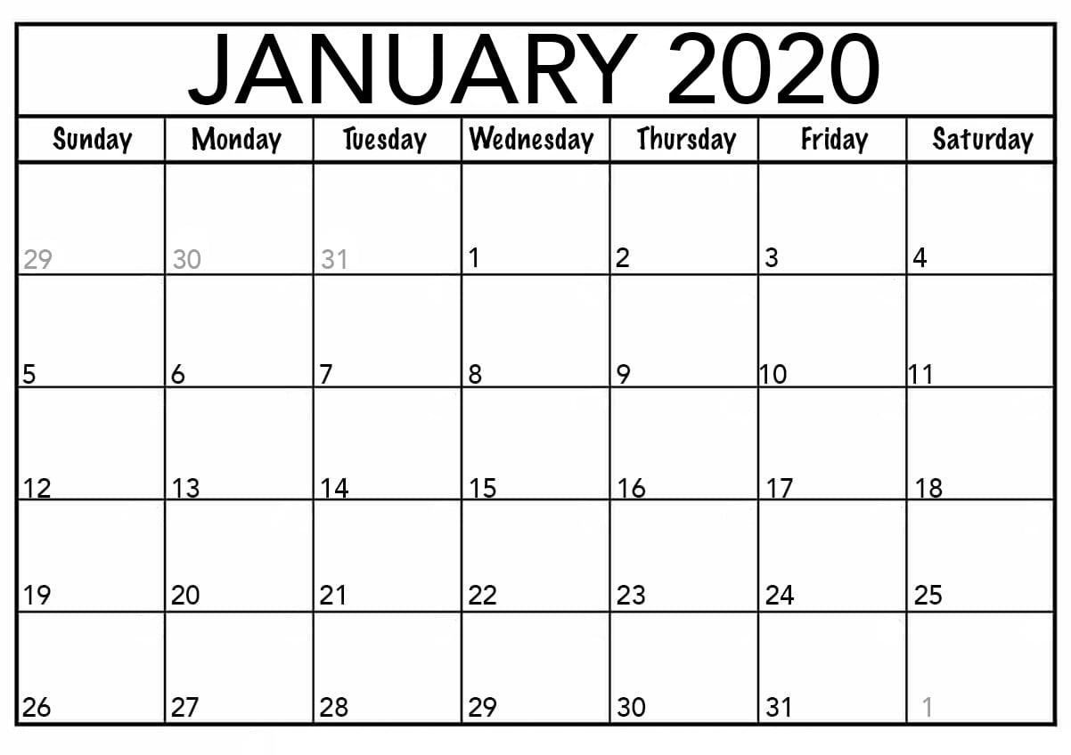 January 2020 Calendar Pdfmonth – Printable Calendar