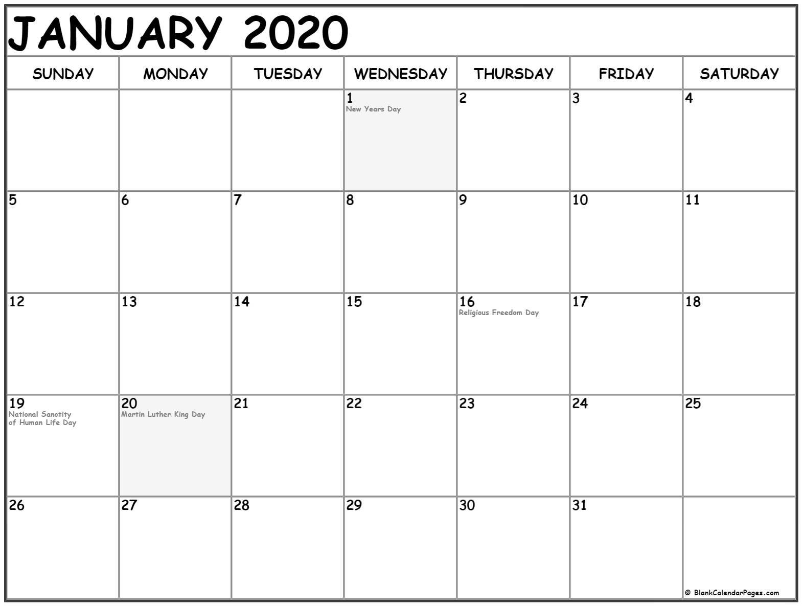 January 2020 Calendar Printable Templates Holidays - July