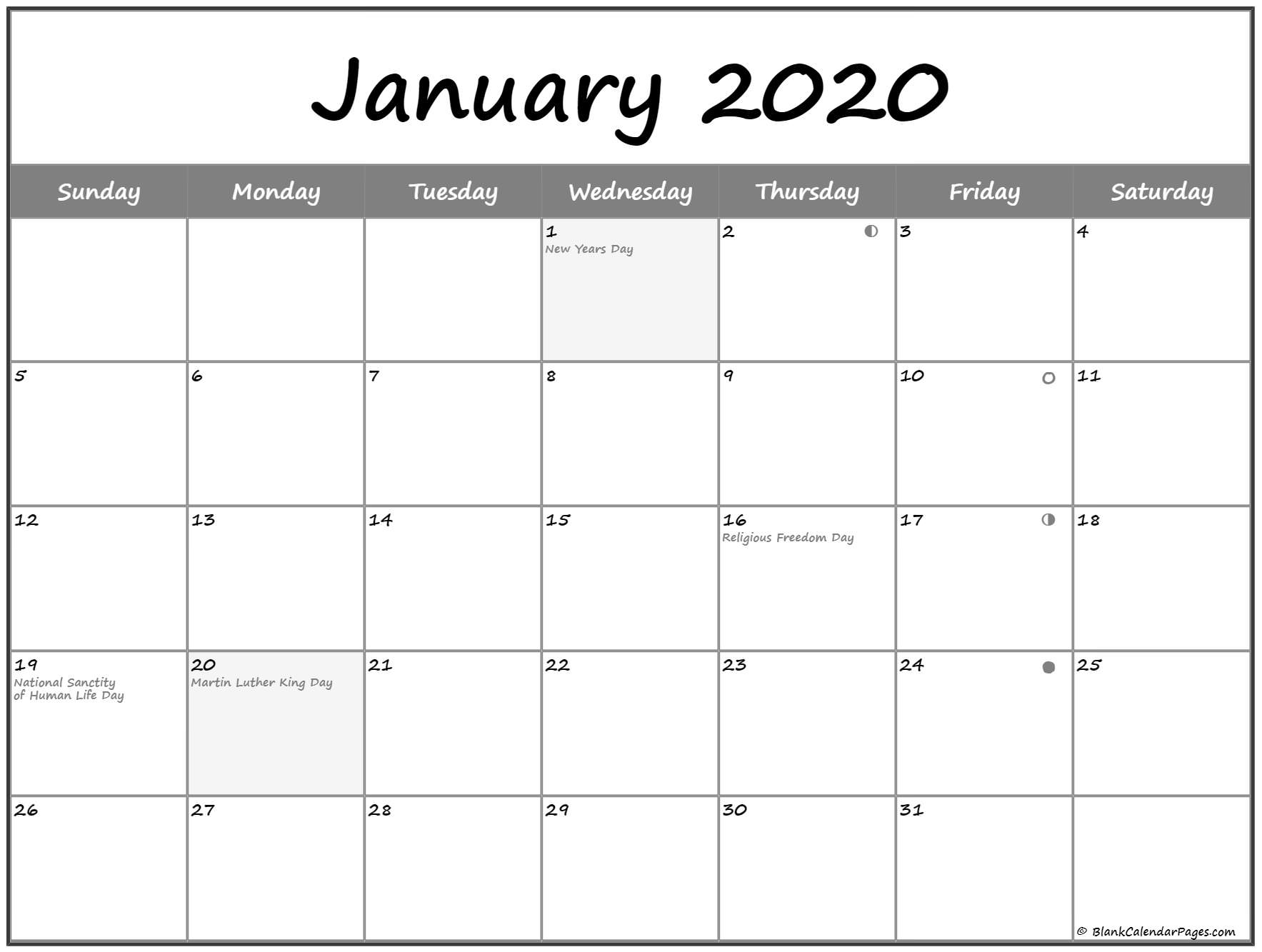 January 2020 Lunar Calendar | Moon Phase Calendar 2020