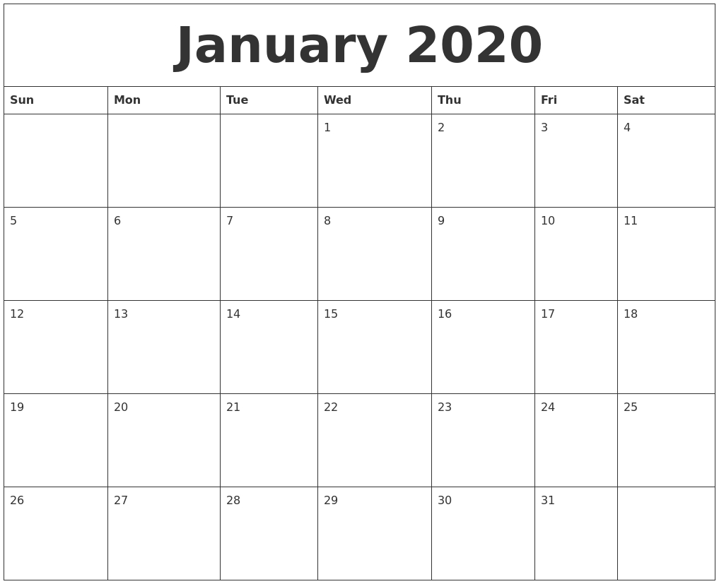 January 2020 Printable Blank Monthly Calendar