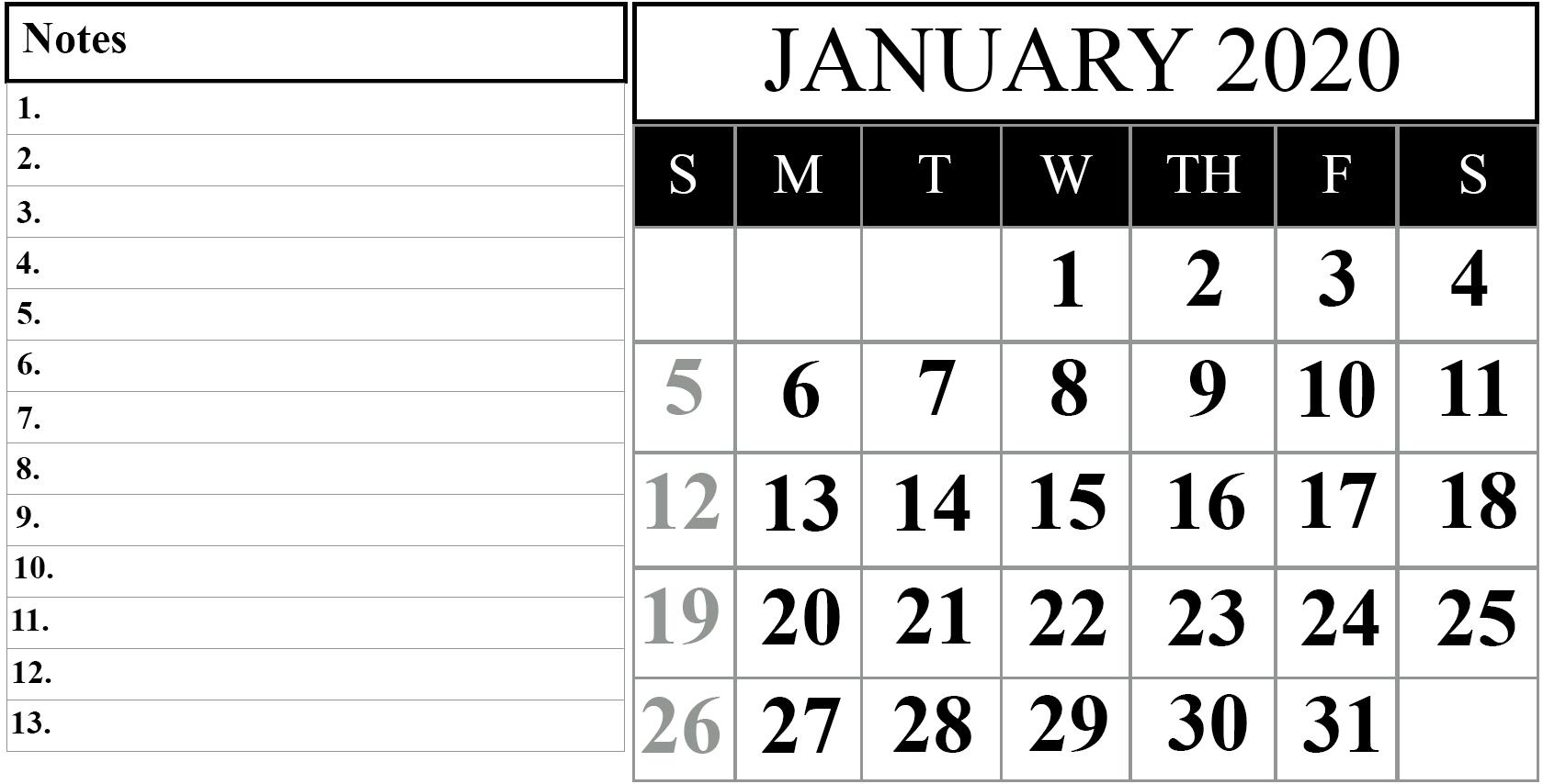 January 2020 Printable Calendar Template #2020Calendars
