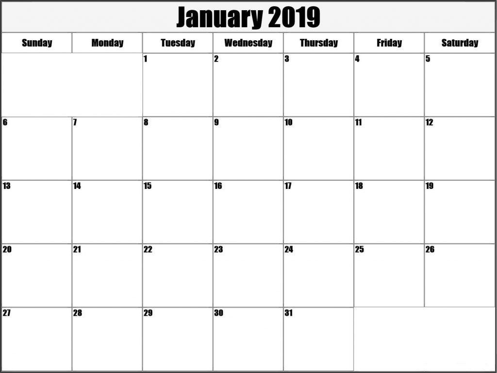January Blank Calendar 2019 Printable Template Free April