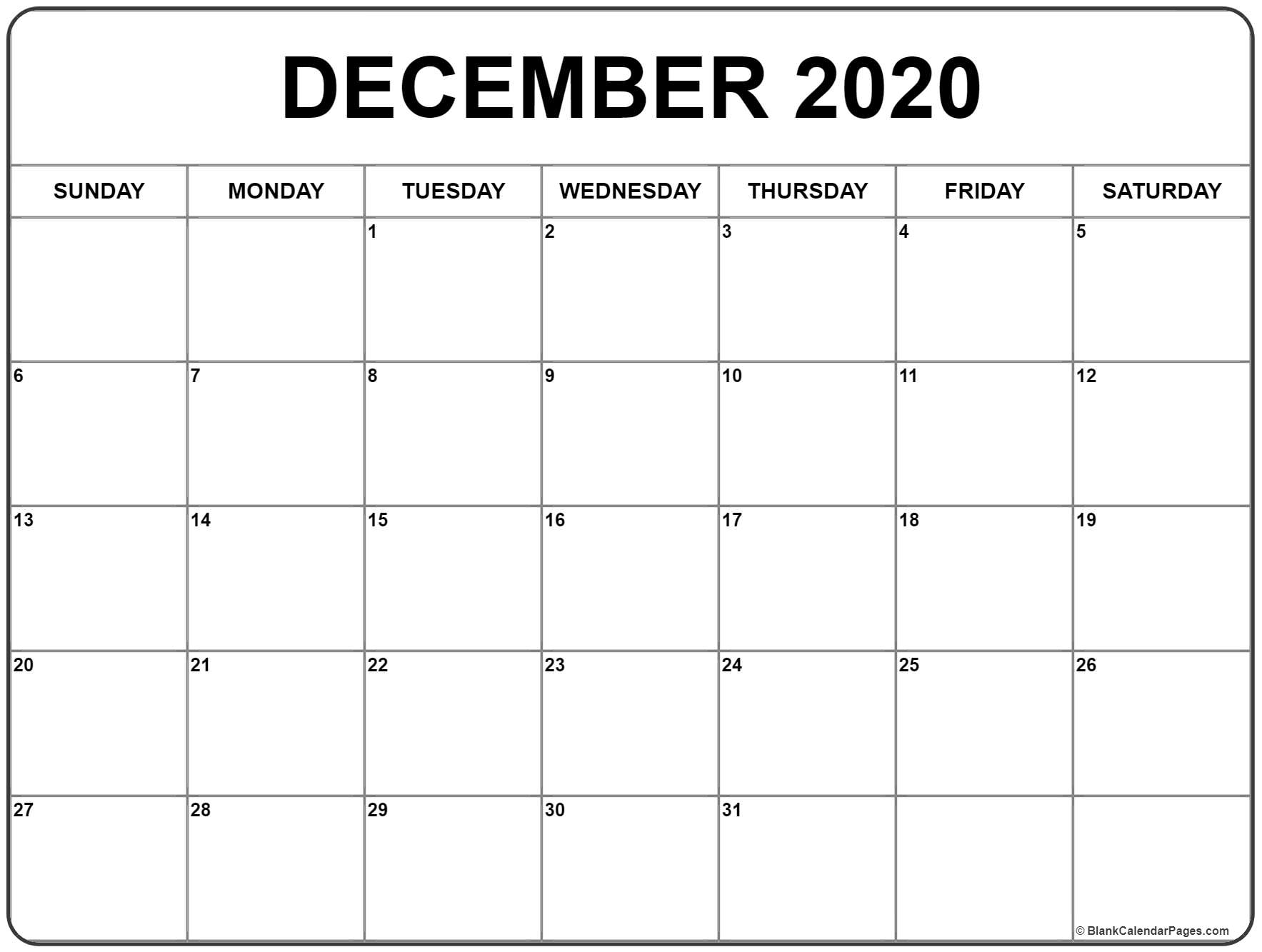 January Thru December 2020 Printable Monthly Calendar