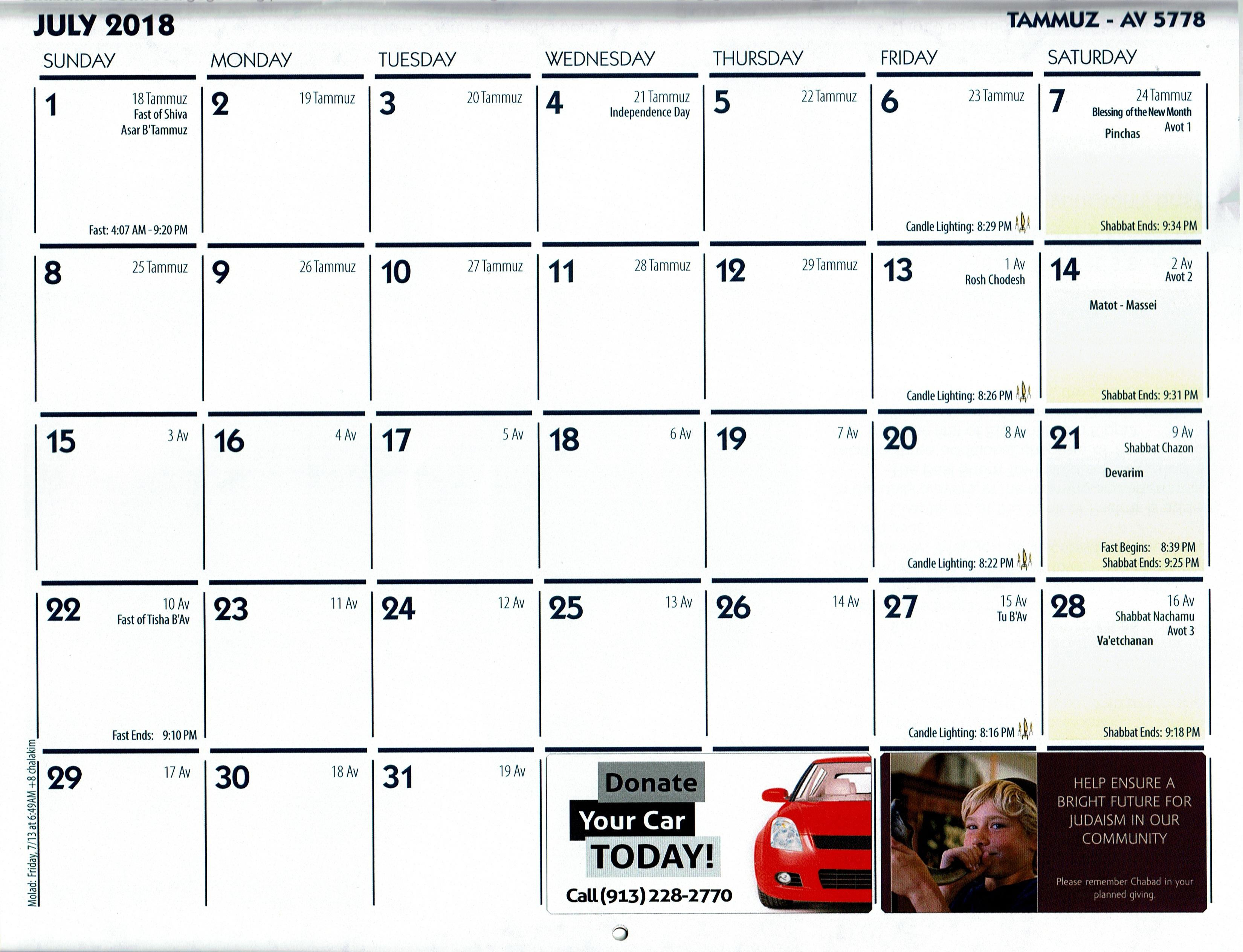 Jewish Calendar - Chabad Of Overland Park & Leawood