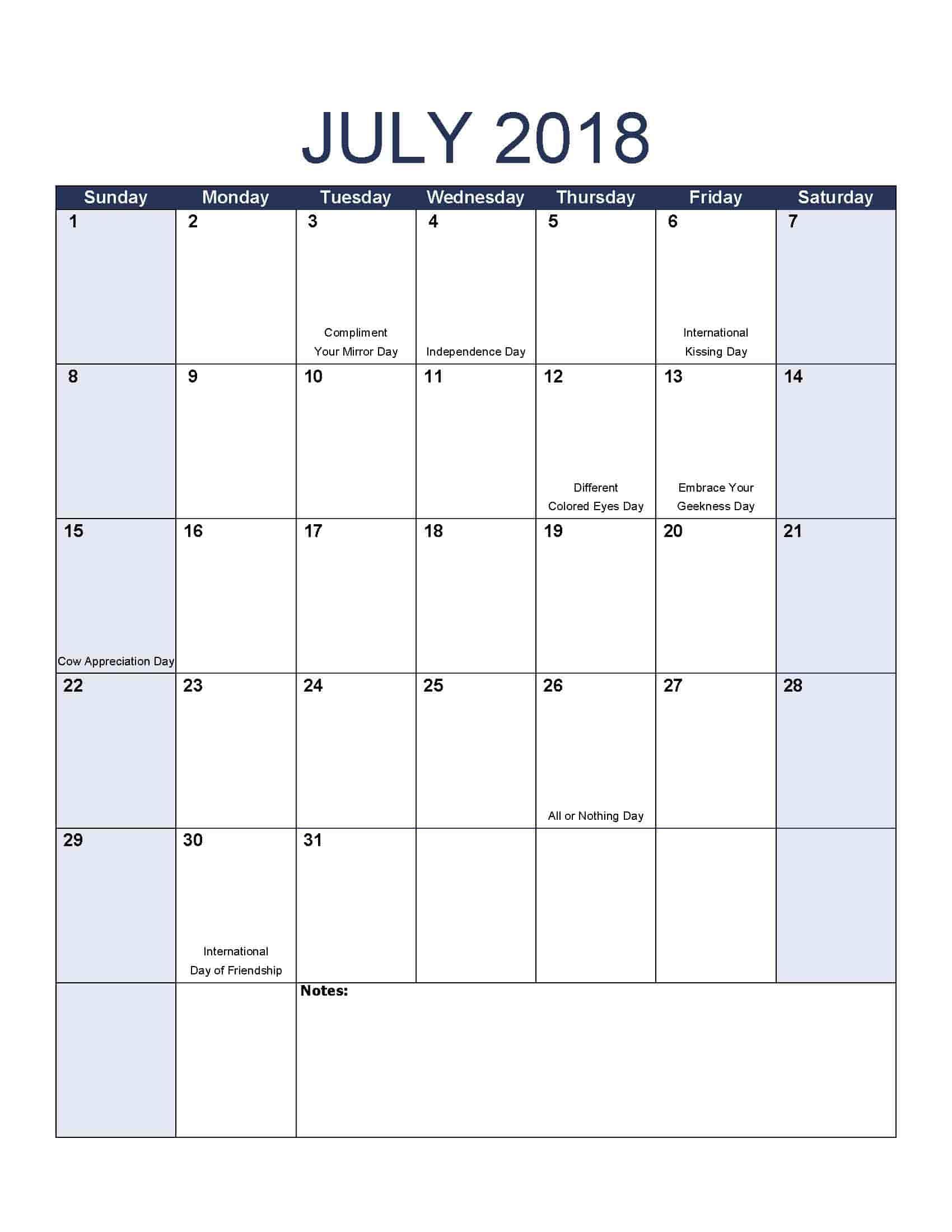 July 2018 Calendar - Free, Printable Calendar Templates