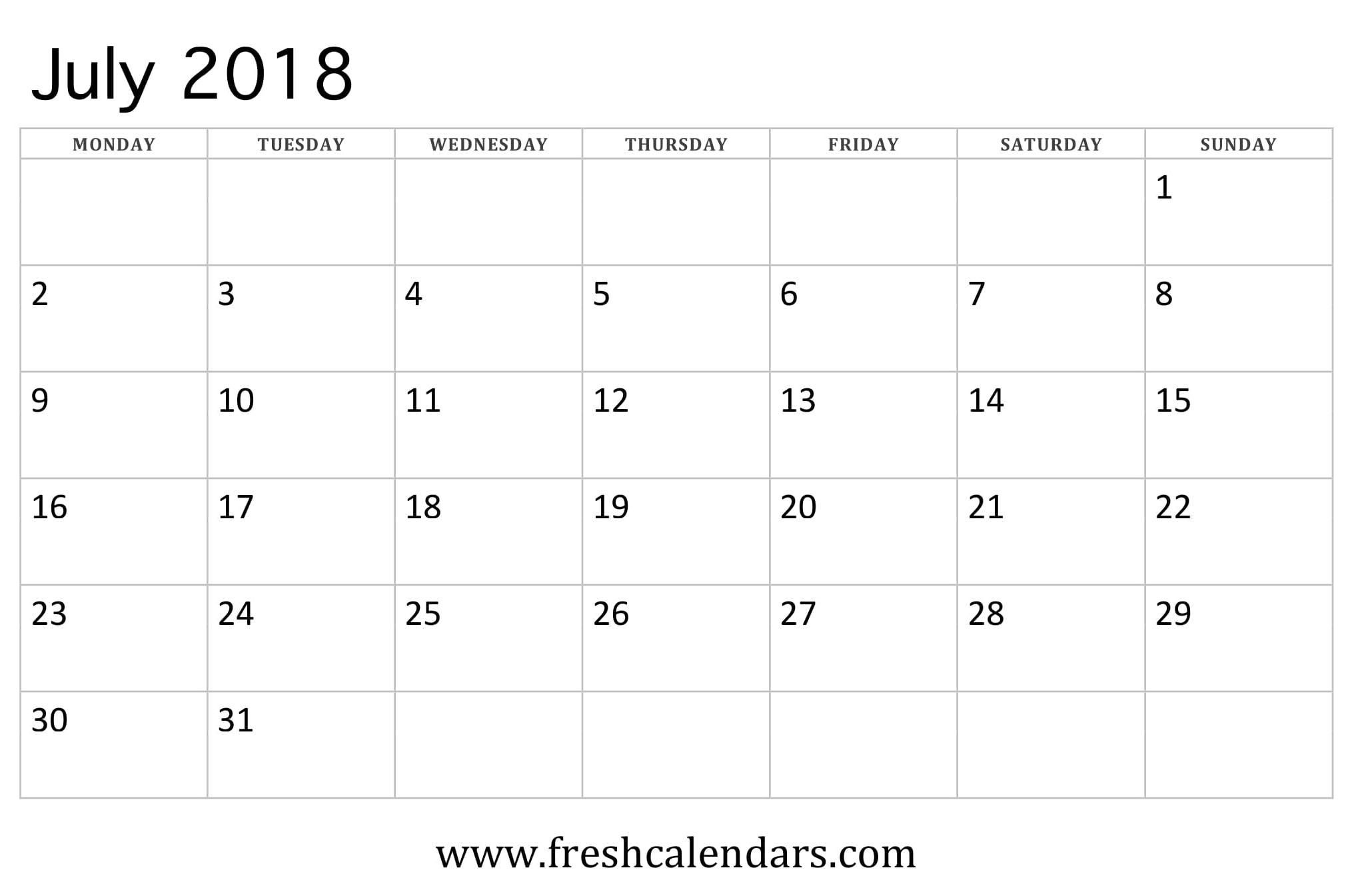 July 2018 Calendar Printable - Fresh Calendars