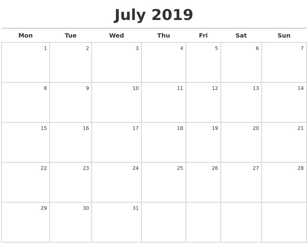 July 2019 Blank Calendar Monday Start #july #julycalendar