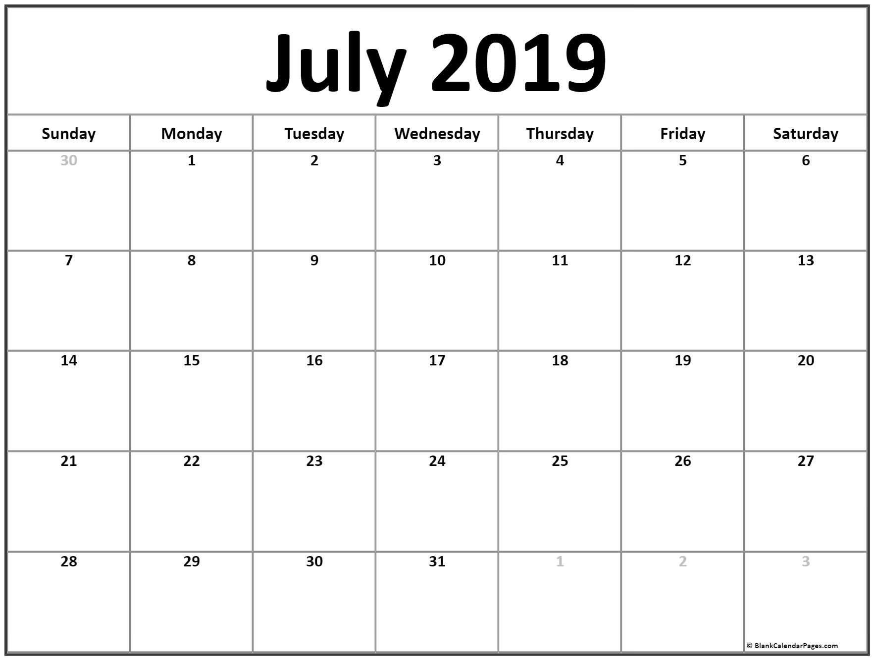 July 2019 Blank Calendar Template | 2019 July Calendar