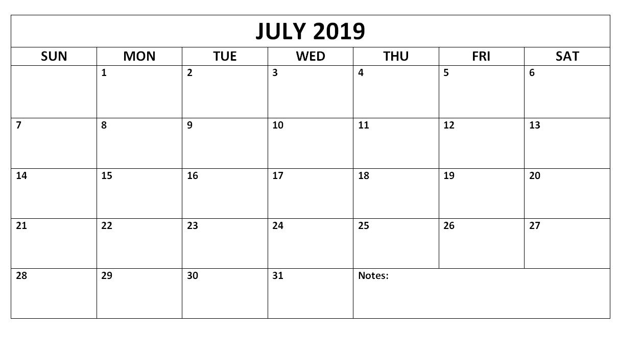 July 2019 Blank Calendar Waterproof | Free Printable July