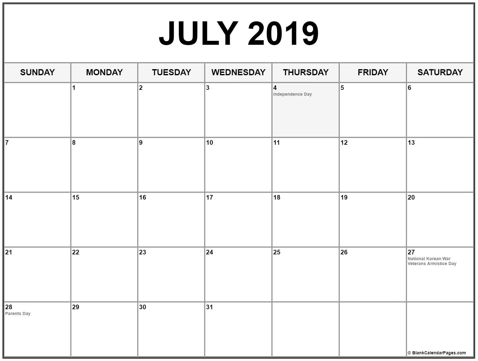 July 2019 Calendar With Holidays #july #july2019