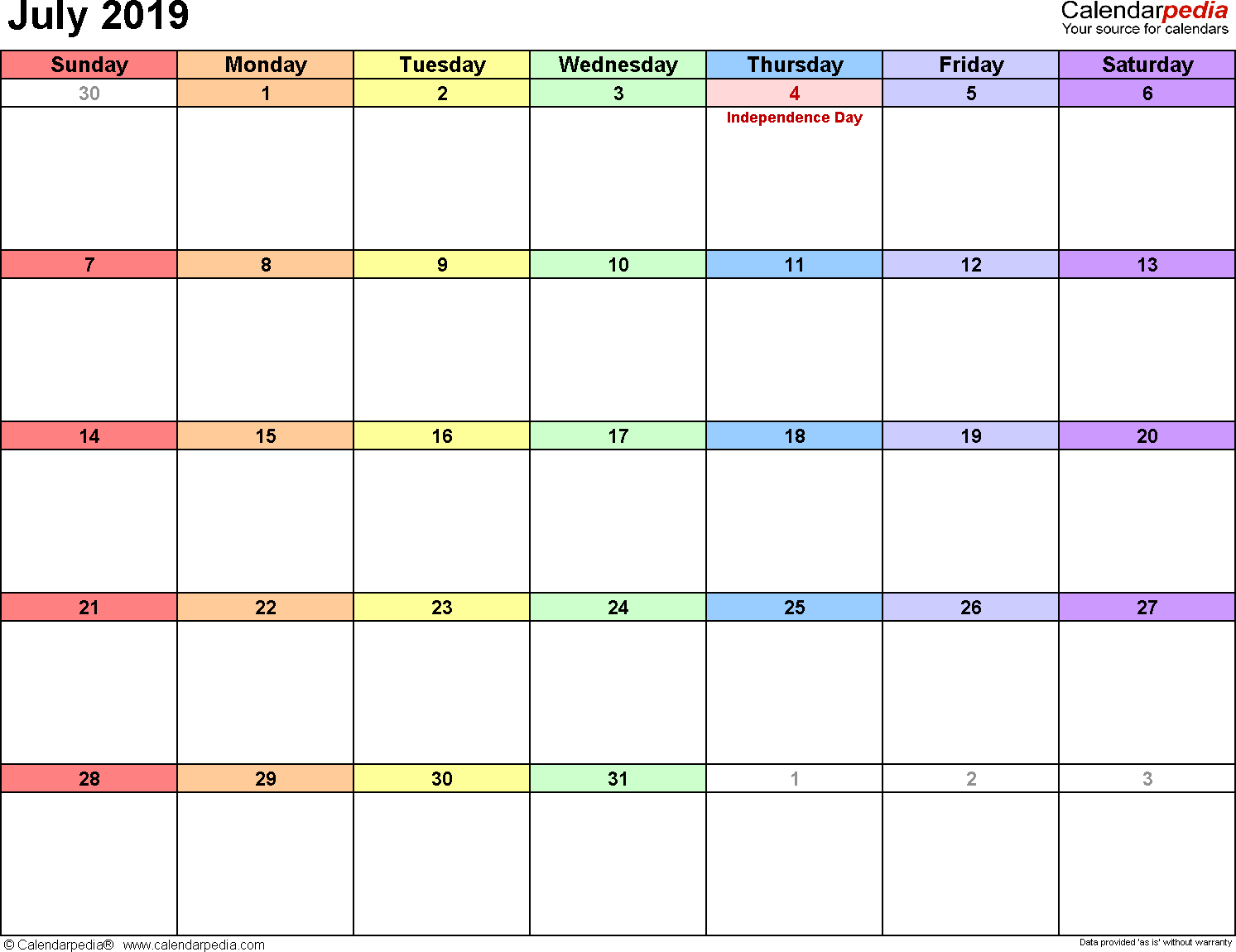 July 2019 Calendars For Word, Excel & Pdf