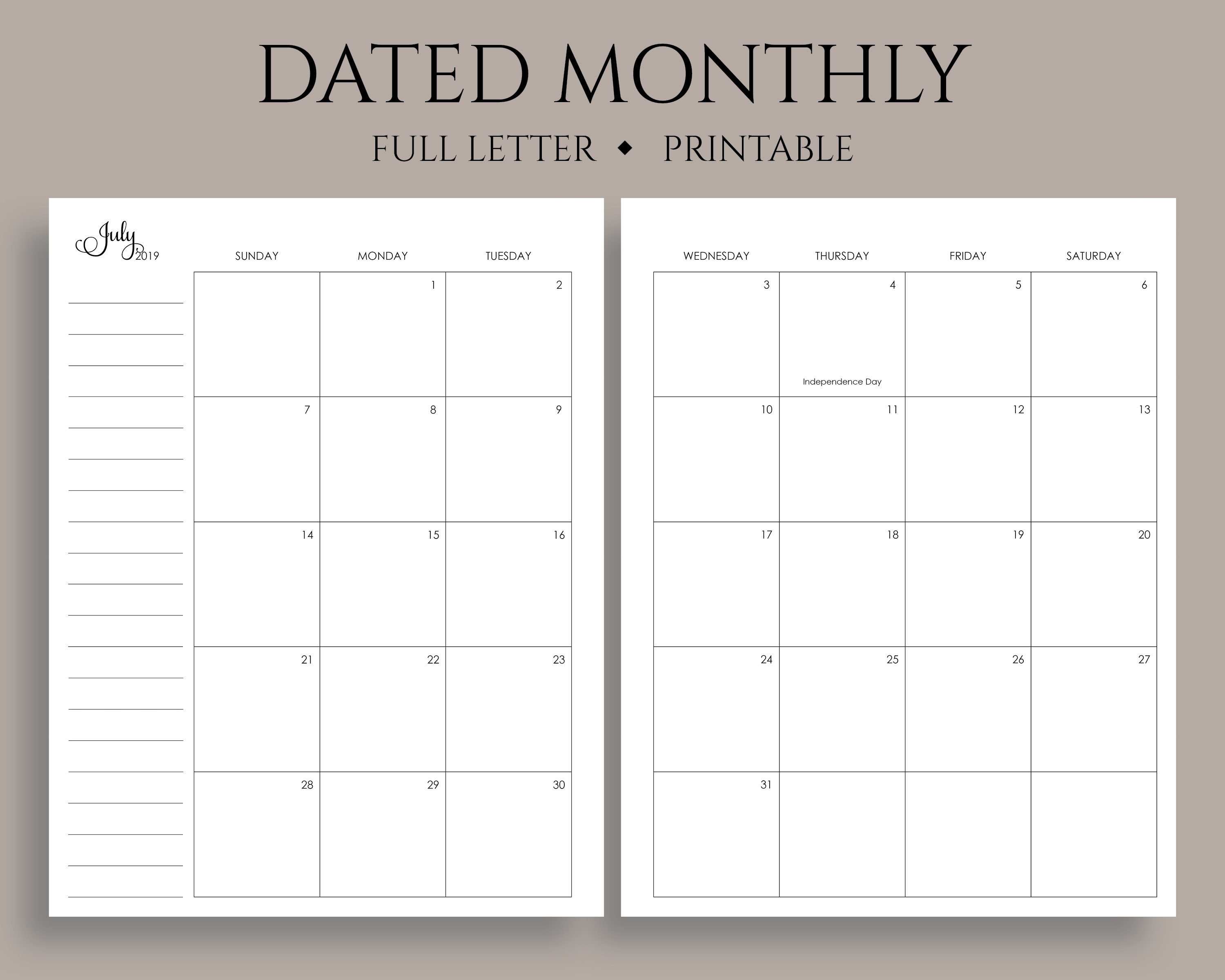 "July 2019 - Dec 2020 Dated Monthly Calendar Printable Planner Inserts,  Sunday Start, Mo2P, Us Holidays ~ Full Letter / 8.5"" X 11"" Pdf"