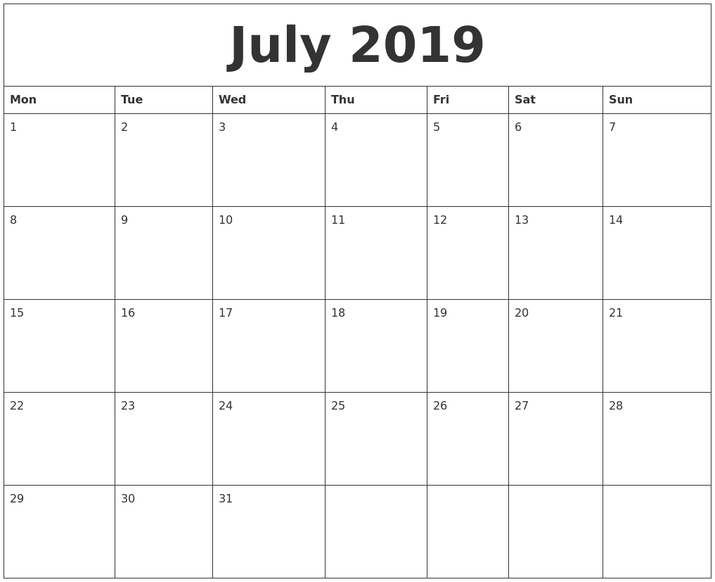 July 2019 Free Printable Monthly Calendar