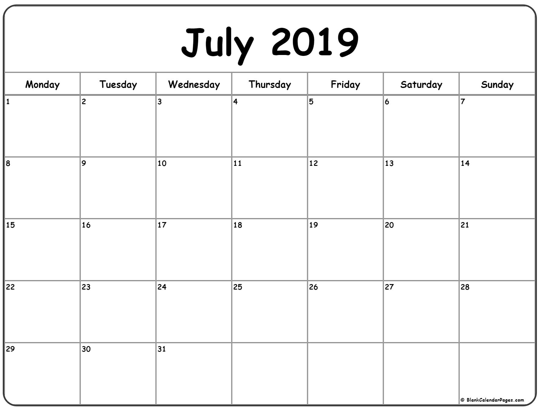 July 2019 Monday Calendar | Monday To Sunday