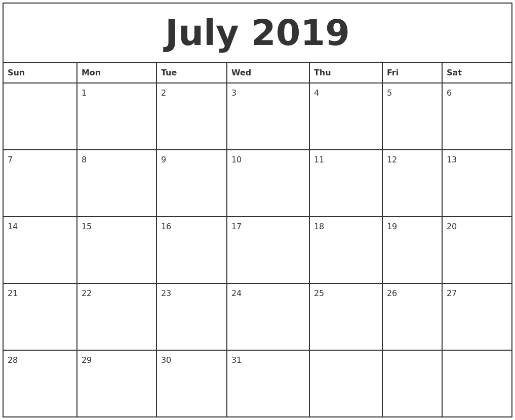 July 2019 Printable Monthly Calendar