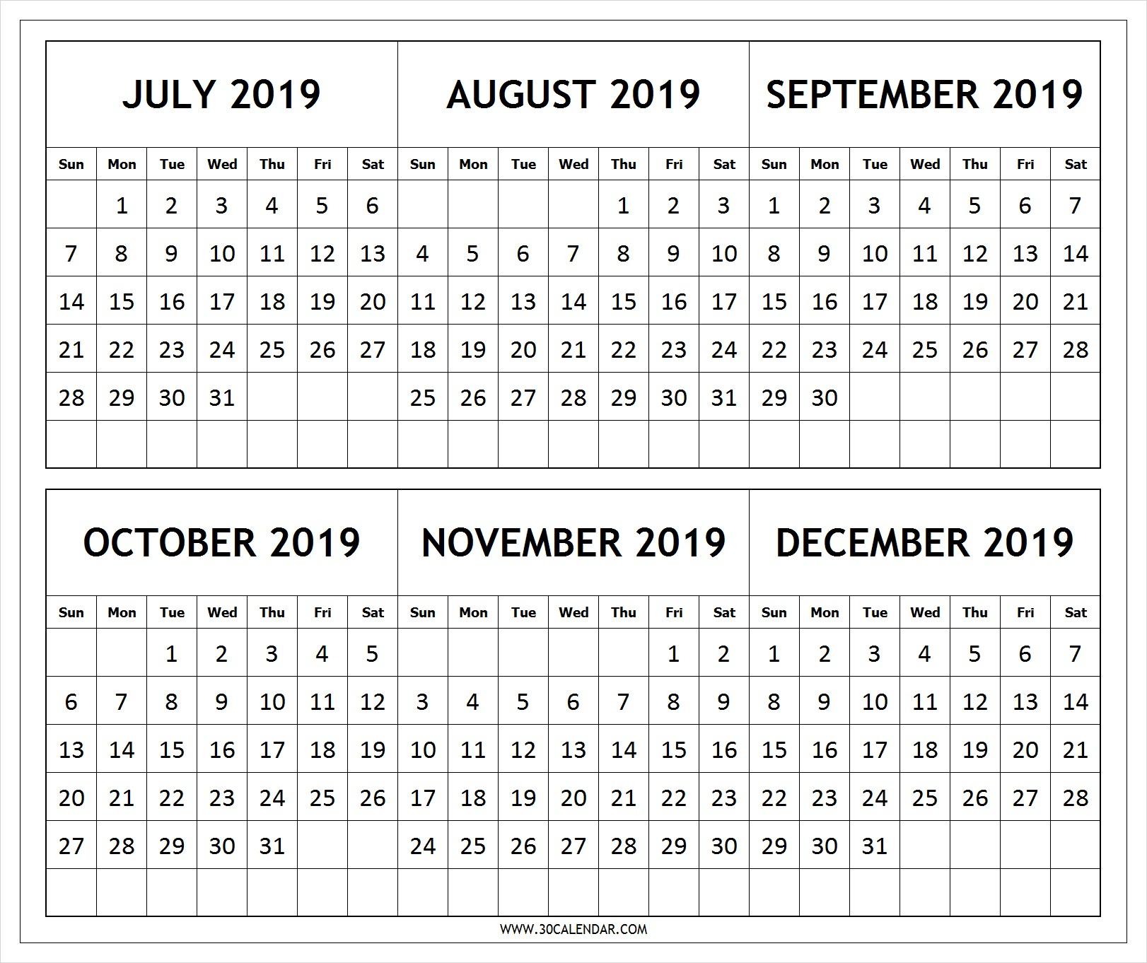 July-2019-To-December-2019-Calendar-Template - 30 Day Calendar