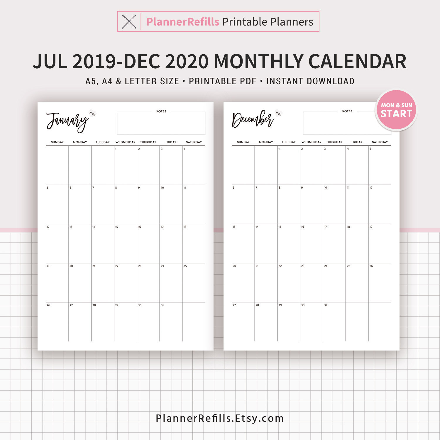 July 2019 To December 2020 Dated Monthly Calendar, 18 Month Calendar,  Printable Planner, A4, Letter Size, Filofax A5,monday And Sunday Start
