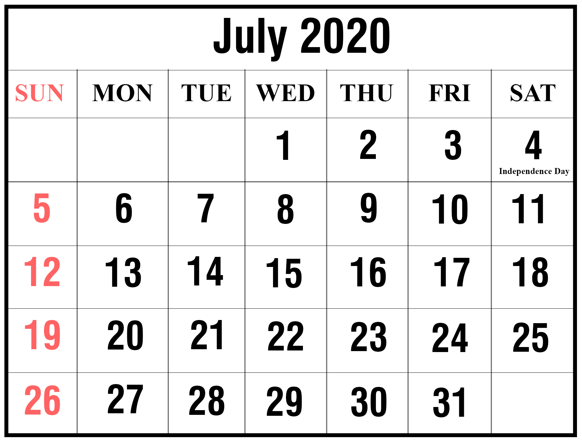 July-2020-1 | Printable Template Calendar