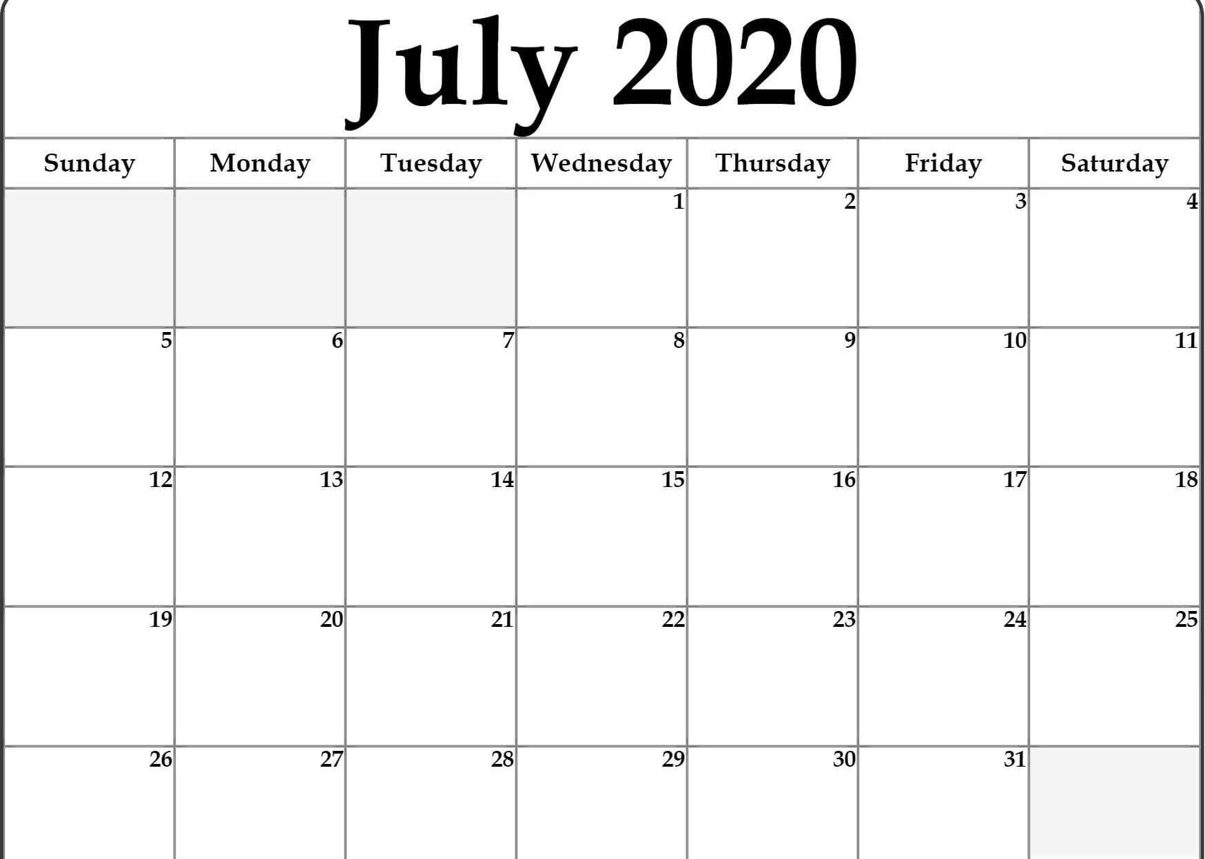 July 2020 Calendar Pdf, Word, Excel Printable Template
