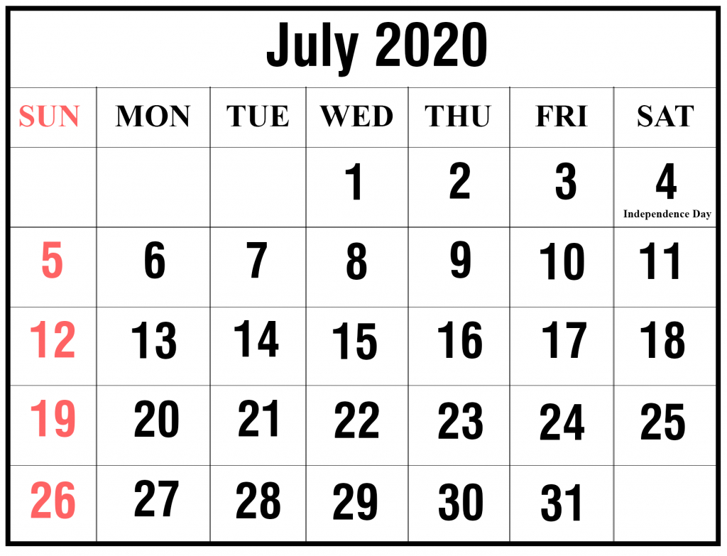 July 2020 Calendar Printable   Best Printable Calendar
