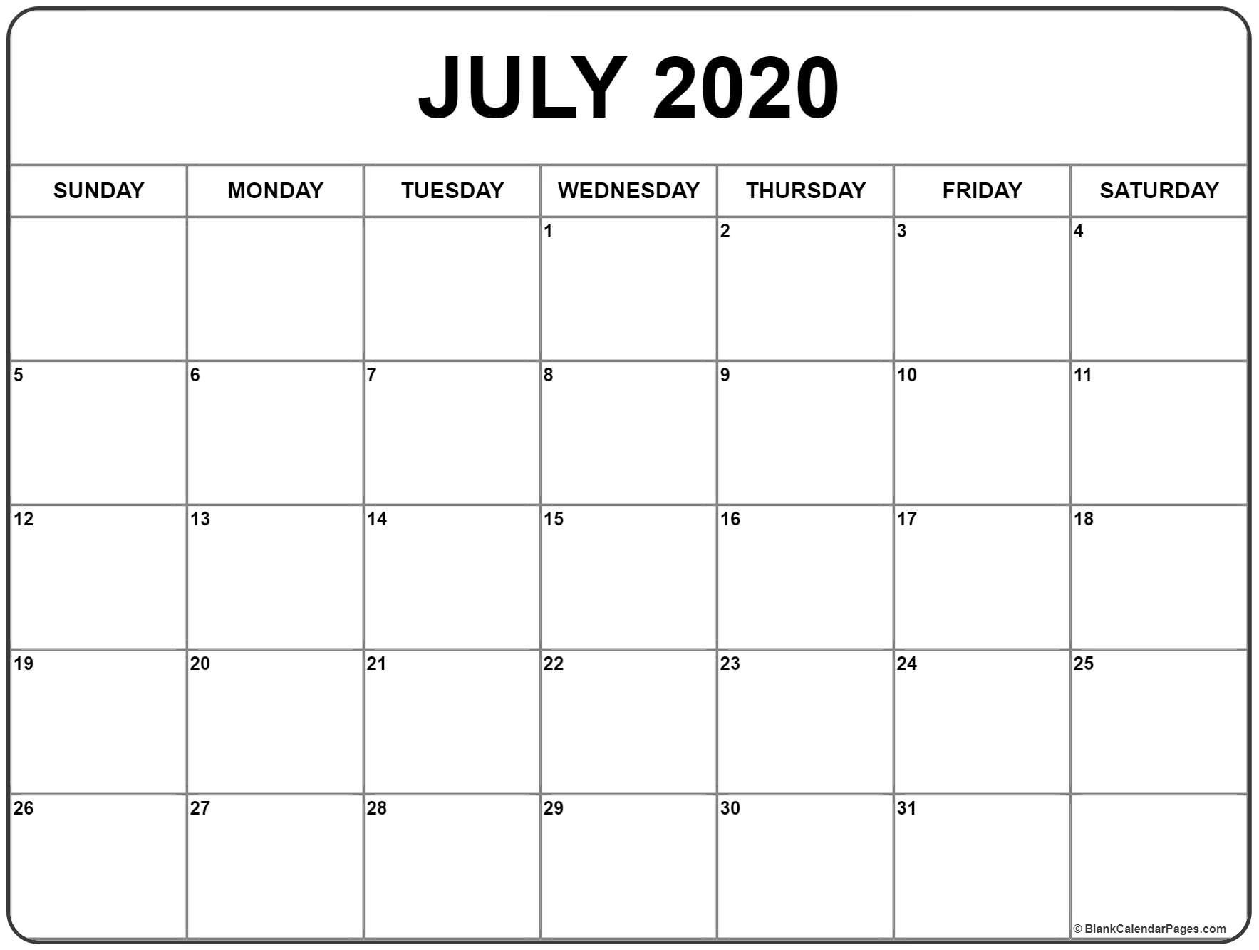 July 2020 Calendar   Printable Calendars   Printable Blank