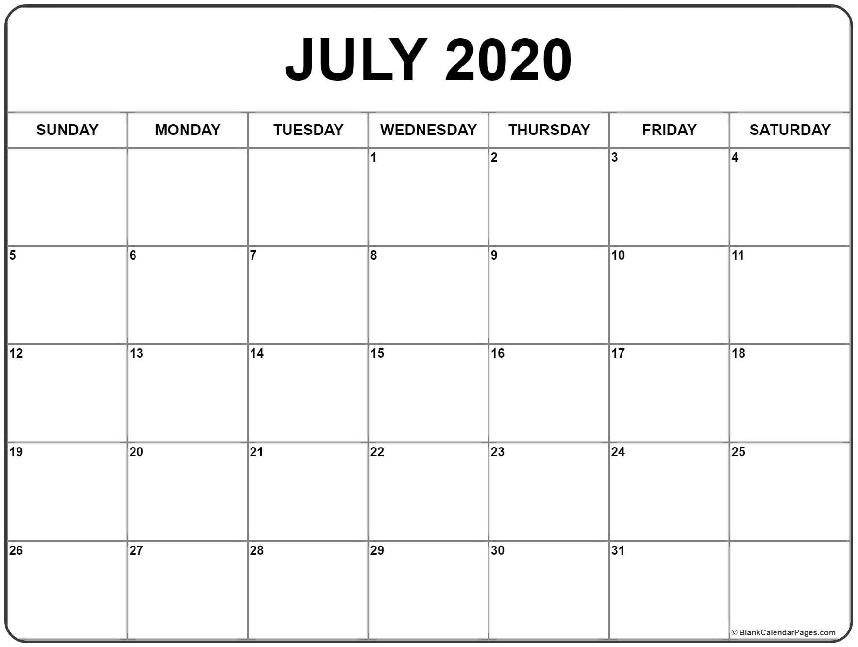 July 2020 Calendar Printable July 2020 Calendar | Get Free
