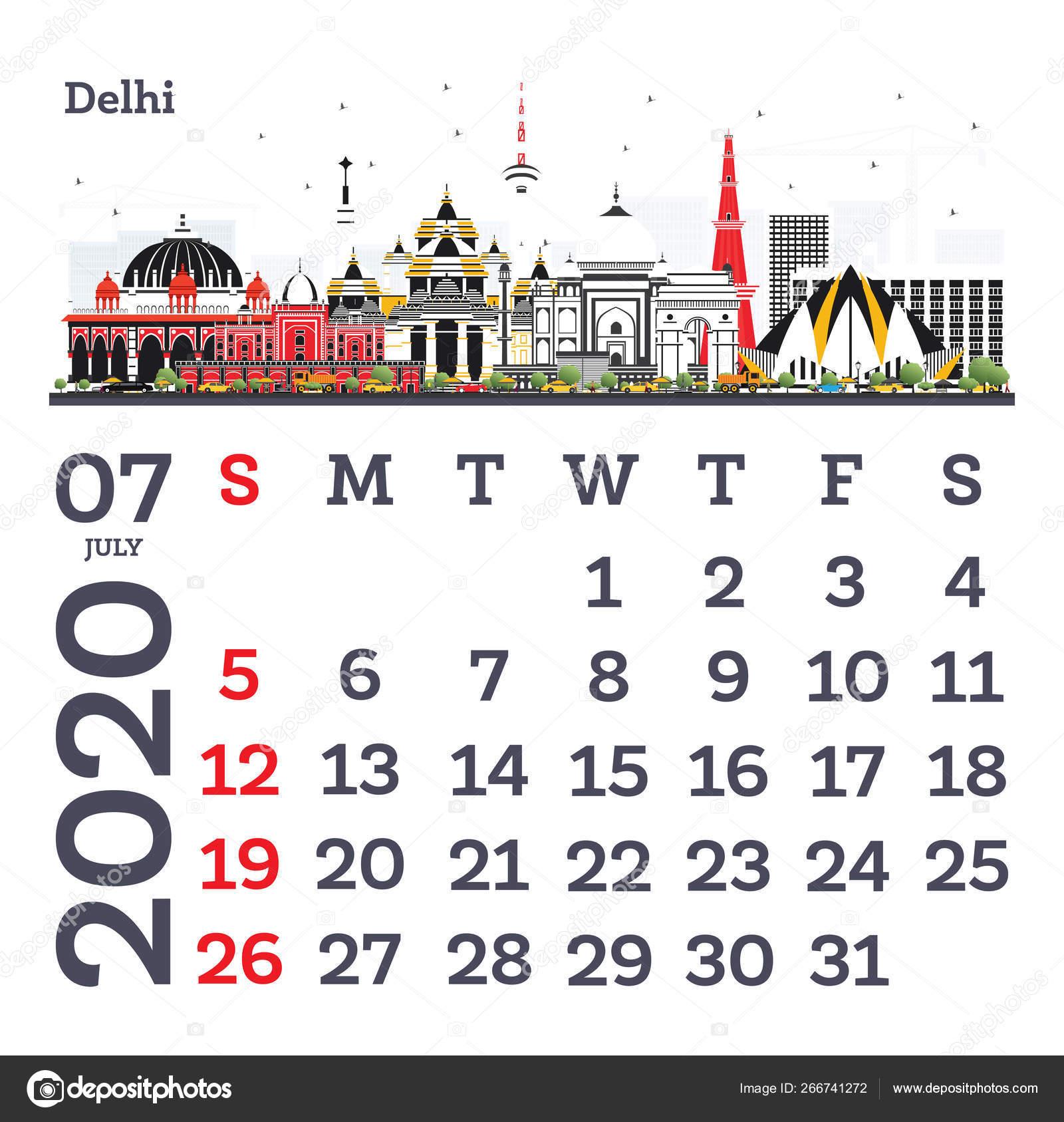 July 2020 Calendar Template With Delhi City Skyline