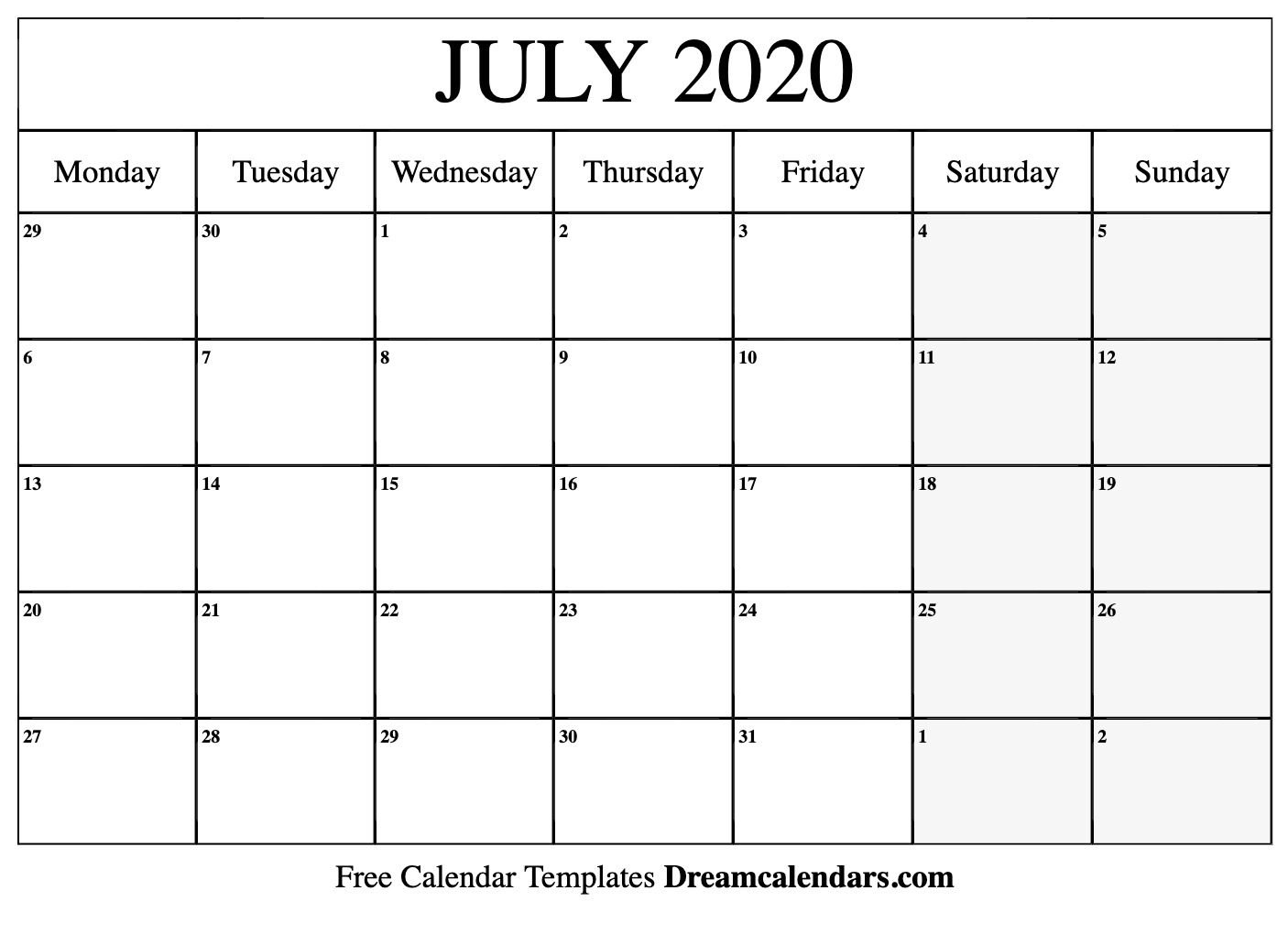 July 2020 Calendar Template Word, Pdf, Excel Format - July