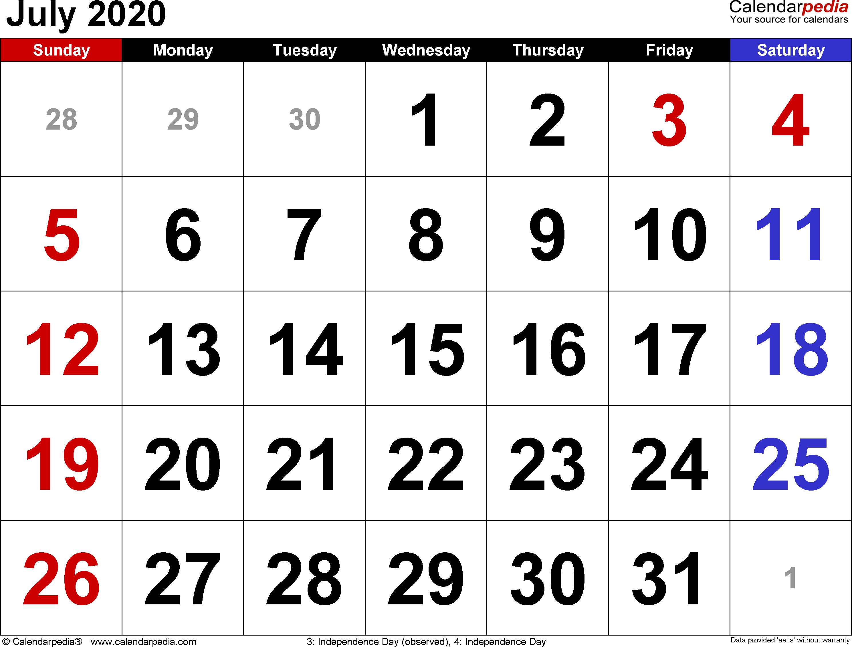 July 2020 Calendars For Word, Excel & Pdf