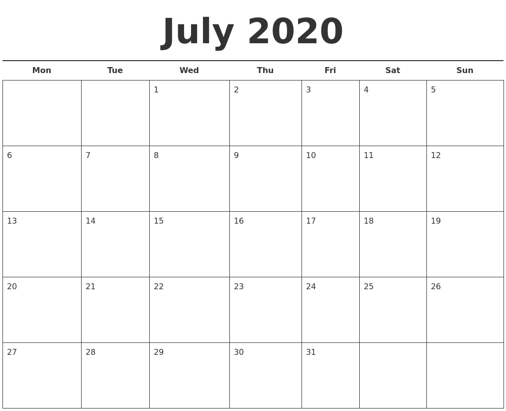 July 2020 Free Calendar Template