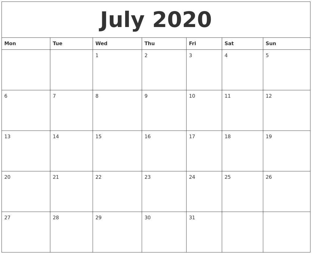 July 2020 Free Printable Monthly Calendar