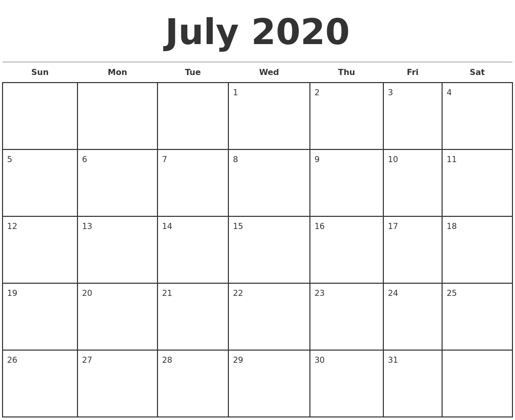 July 2020 Monthly Calendar Template