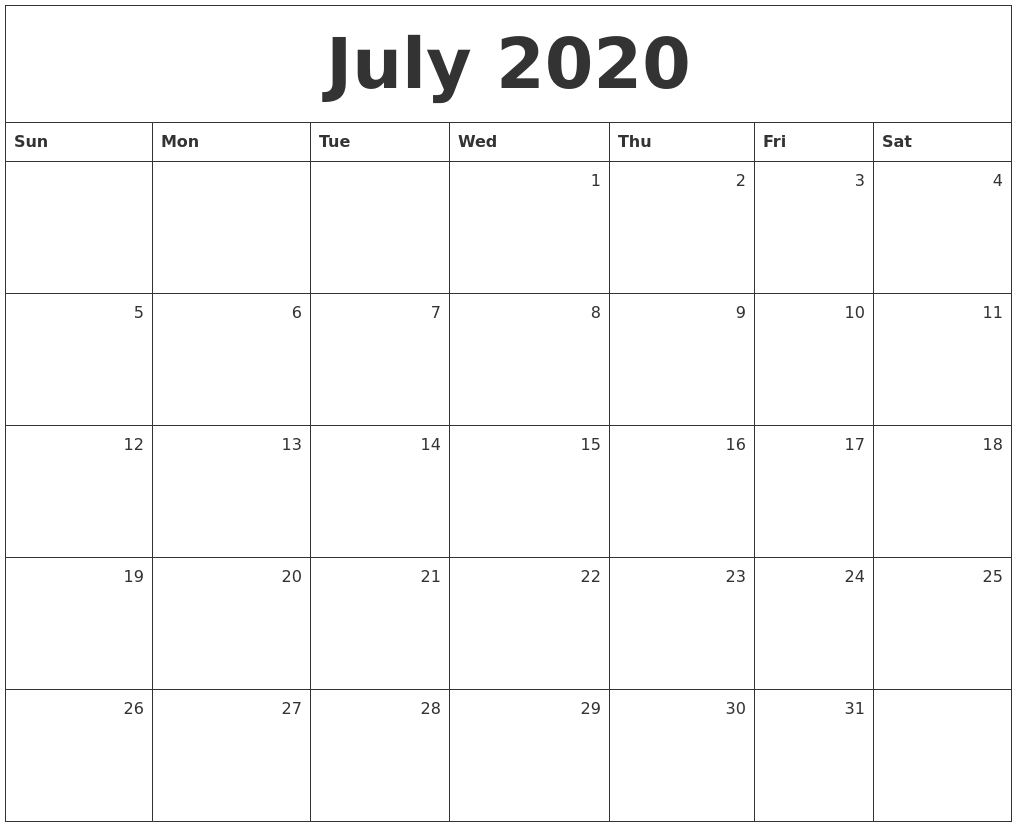 July 2020 Monthly Calendar