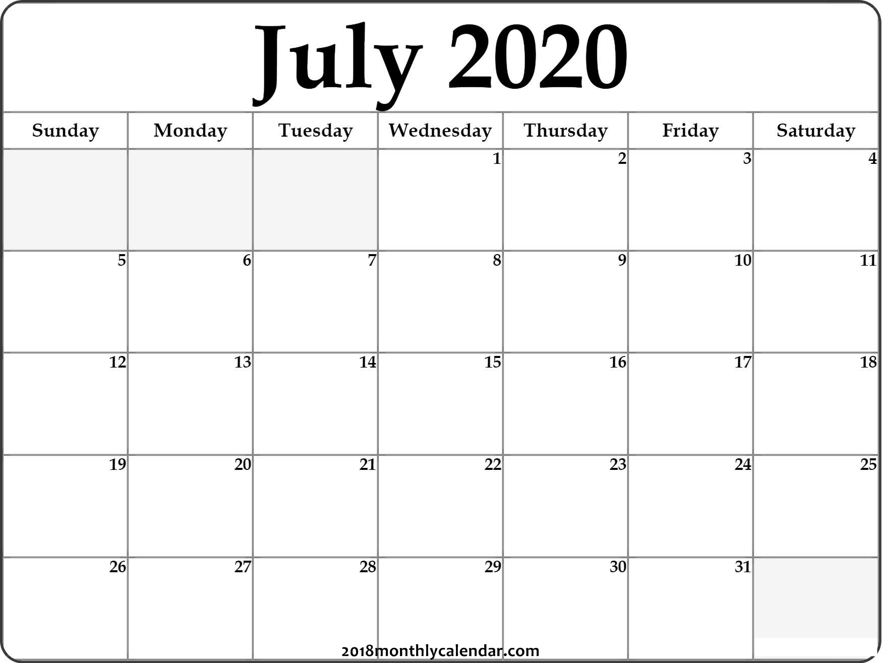 July 2020 Printable Calendar Pdf Free Monthly Template