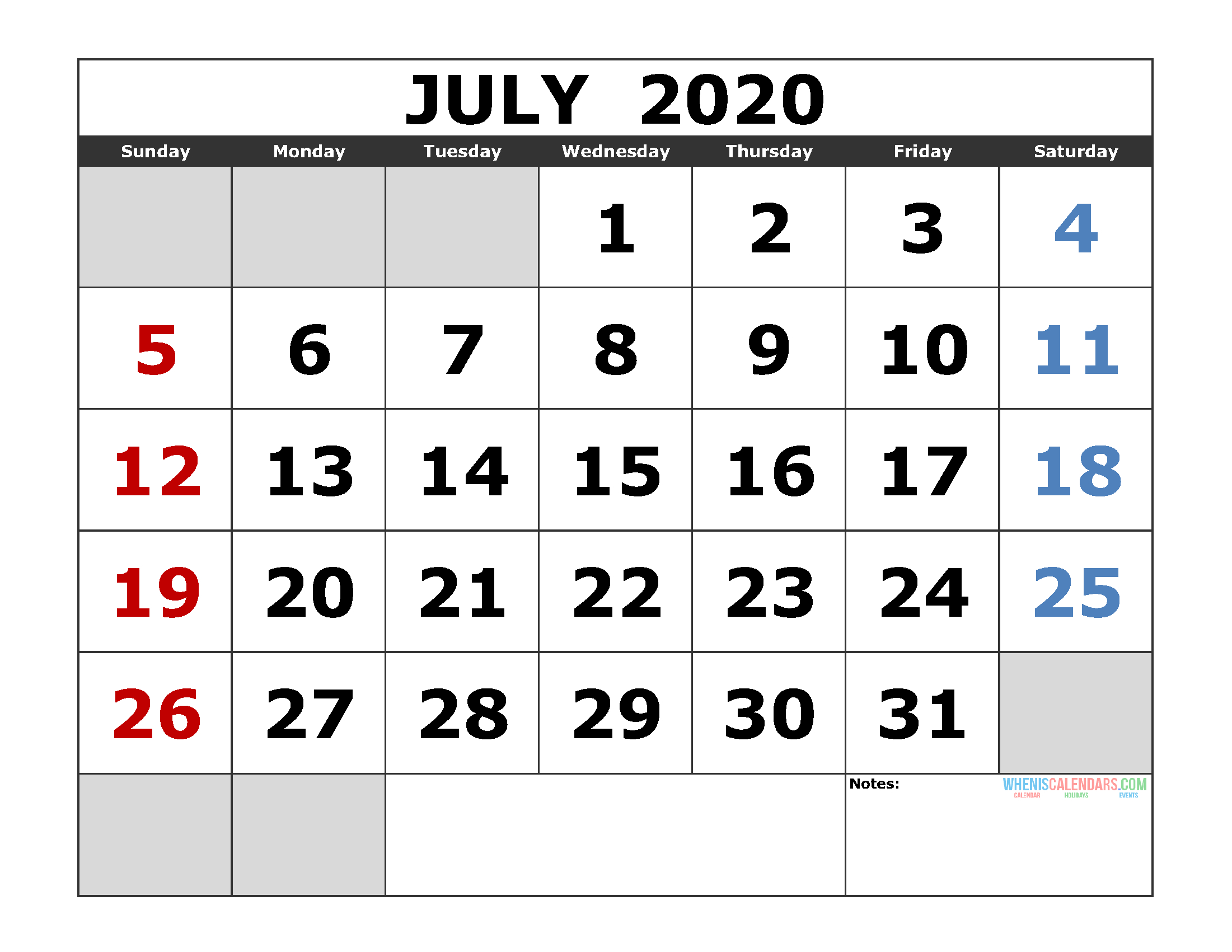 July 2020 Printable Calendar Template Excel, Pdf, Image [Us