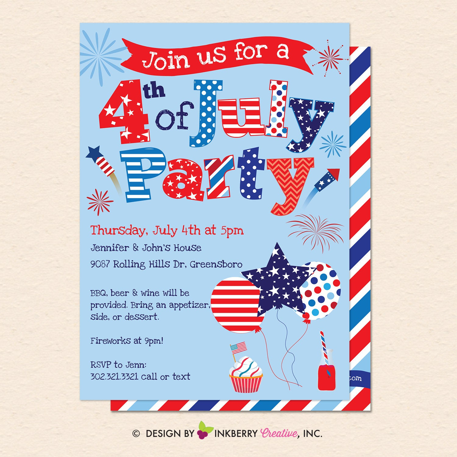July 4Th Party Invitation - 4Th Of July, Patriotic, Red White And Blue,  Patriotic Party - Printable, Instant Download, Editable, Pdf