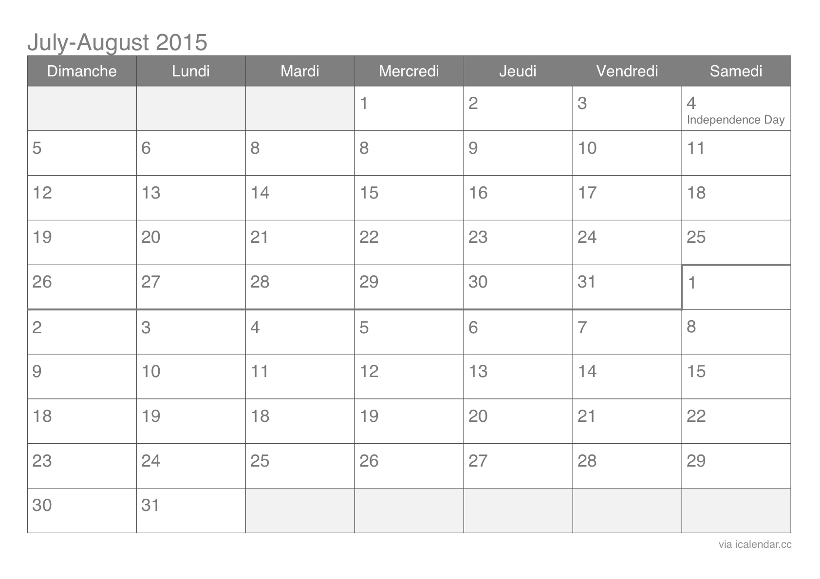 July And August 2015 Printable Calendar - Icalendars