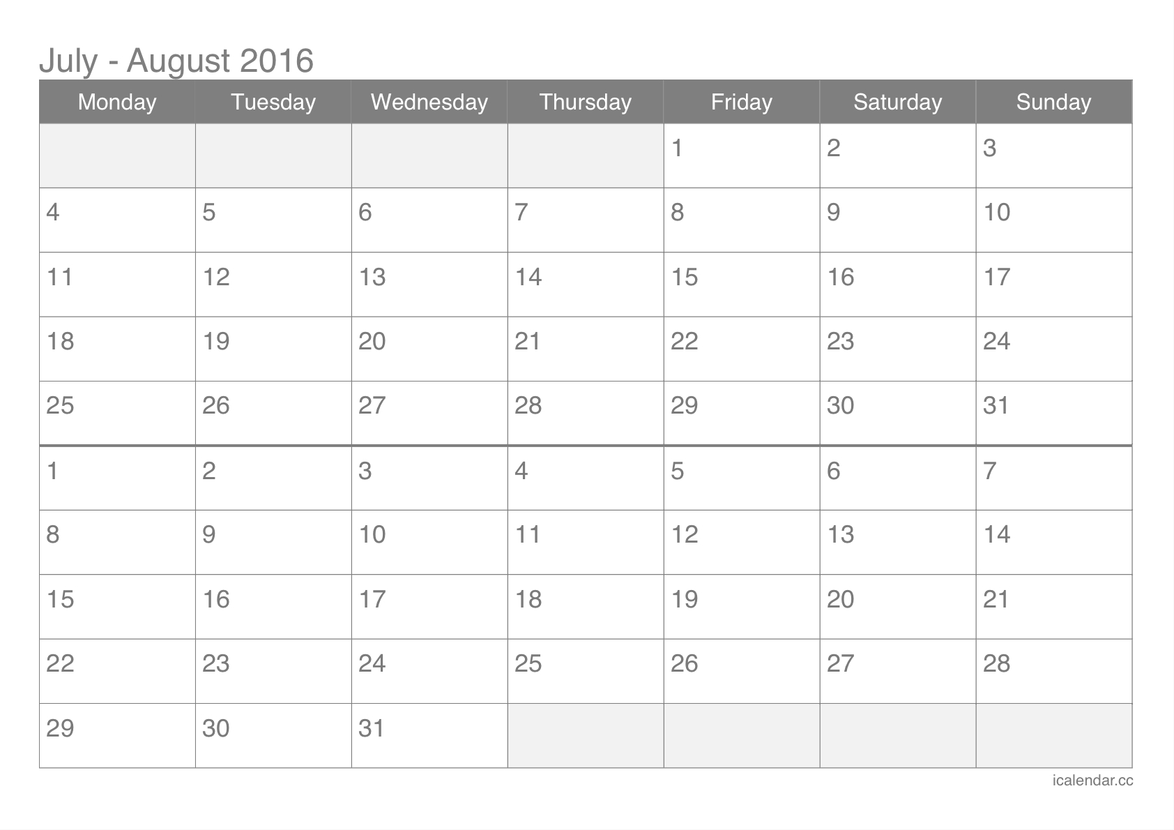 July And August 2016 Printable Calendar - Icalendars