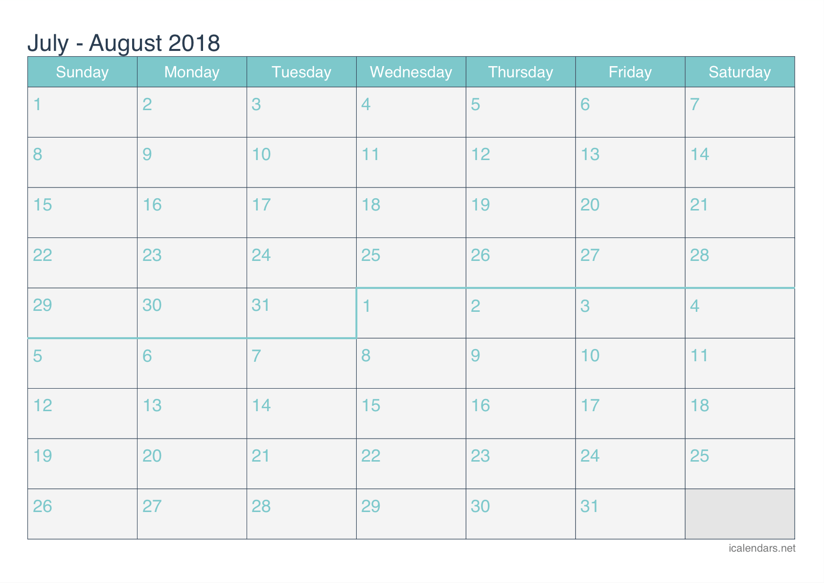 July And August 2018 Printable Calendar - Icalendars