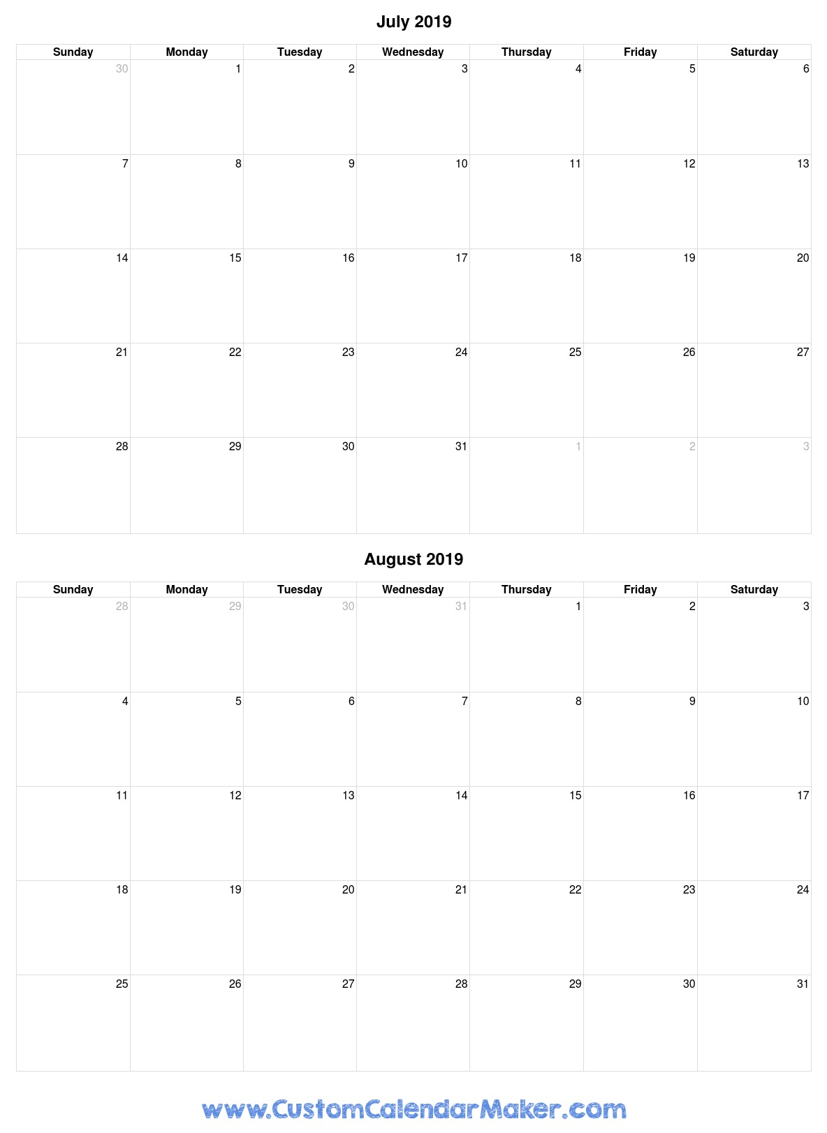 July And August 2019 Free Printable Calendar Template