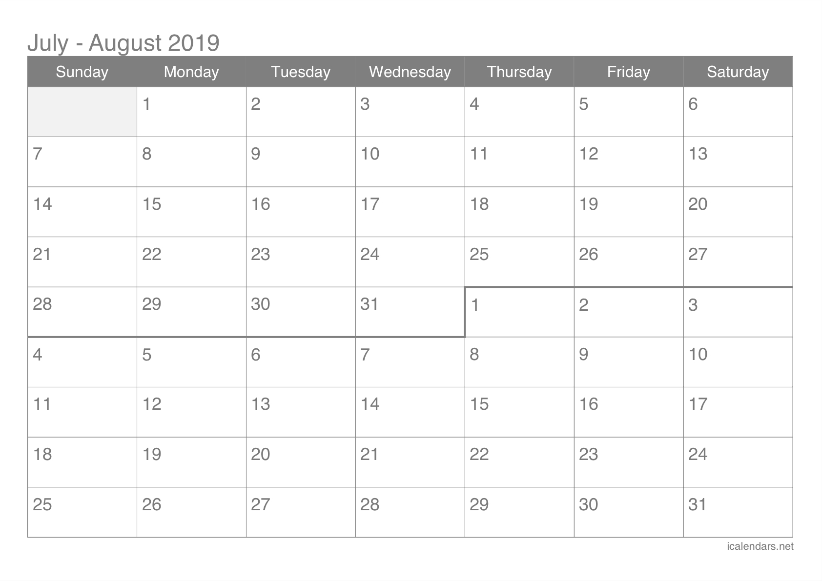 July And August 2019 Printable Calendar - Icalendars