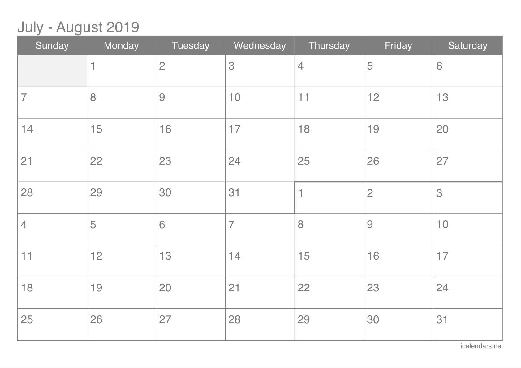 July And August Blank Calendar - Calendar Inspiration Design
