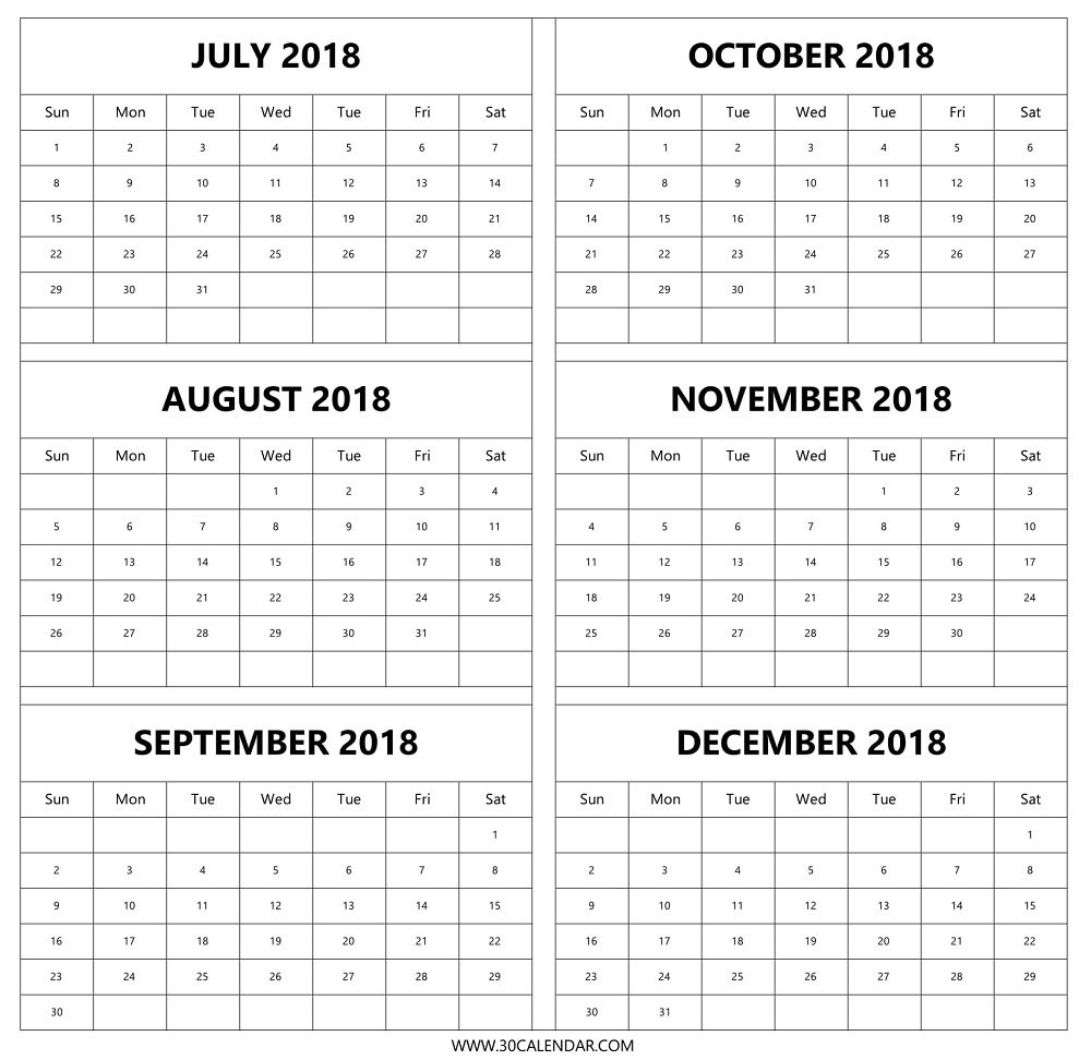 July Aug Sep Oct Nov Dec 2018 Calendar | 6 Months 2018 Template