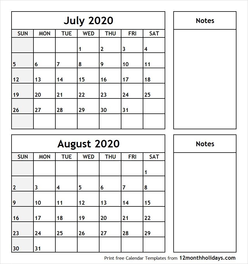 July-August-2020-Printable-Calendar - All 12 Month Calendar