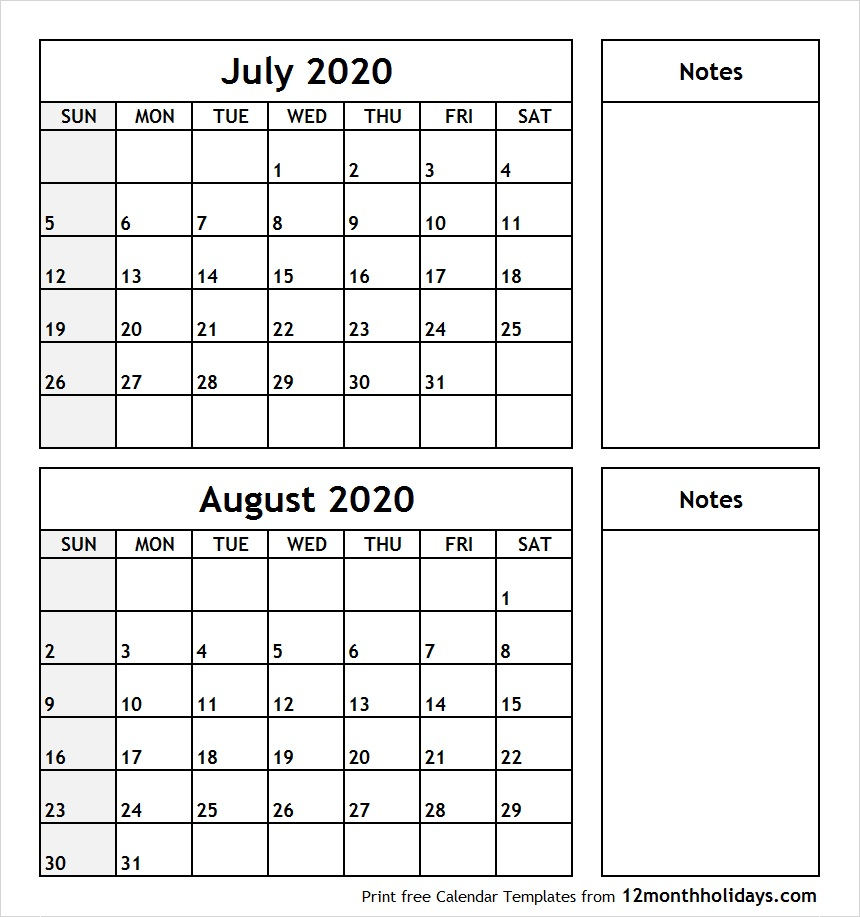 July-August-2020-Printable-Calendar - All 12 Month Calendar