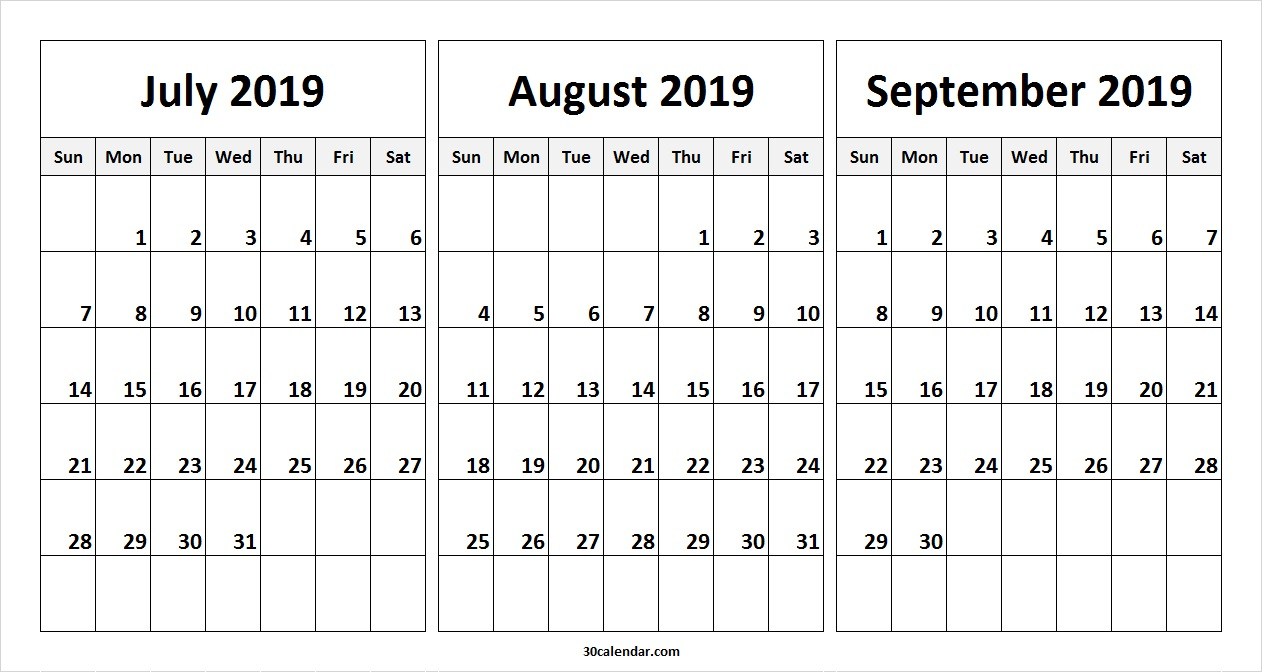 July August September 2019 Calendar | July Month Calendar